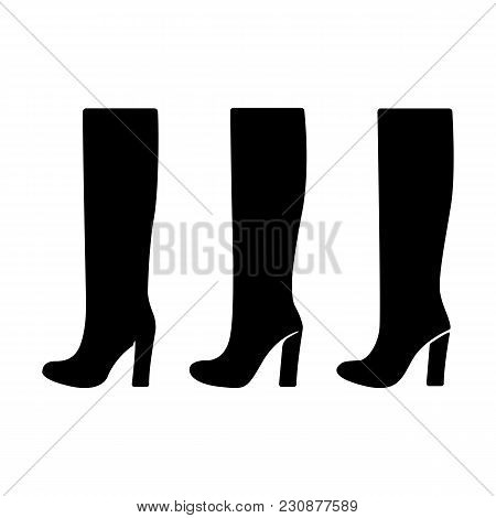 Icons Set Of Boots. Vector Shoes Silhouette. Black On White. Vector Illustration.