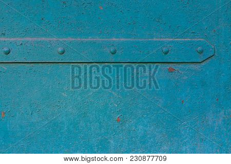 Old Blue Paint On Door Or Gate Of Building, Iron Sheet, Shuffled Over Time. Pattern, Background, Tem