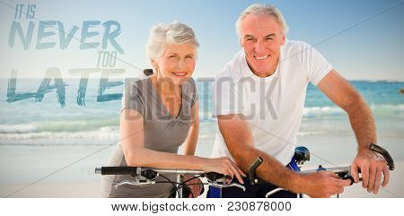It is never too late against portrait of retired couple with their bikes