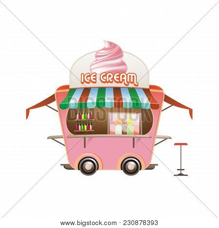 Street Counter, Stall, Sale Of Sweet Fresh Ice Cream And Other Sweets. A Firm Counter Under A Canopy