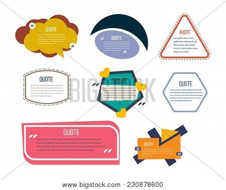 Set Of Modern Color Templates Of Speech Bubbles, Text Quotes And Phrases. Color Quotes For Comments,