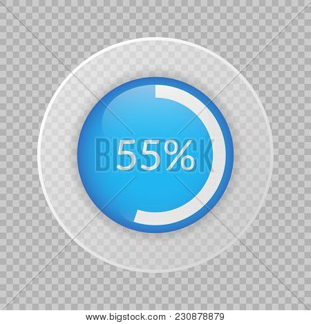 55 Percent Pie Chart On Transparent Background. Percentage Vector Infographics. Circle Diagram Isola
