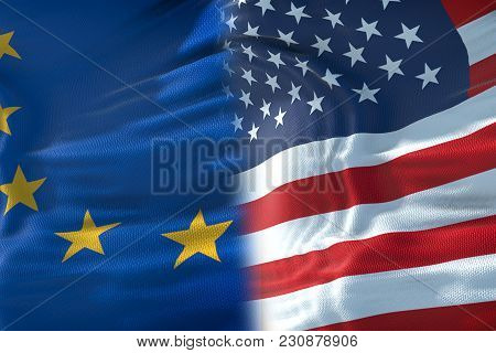 Half Flags Of United States Of America And Half European Union Flag, Crisis Between Usa American And