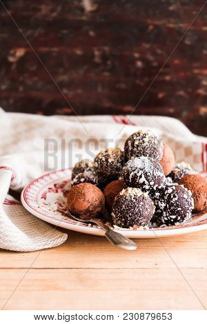 Sweet Food. Treat For Easter Celebration. Set Of Homemade Chocolate Sweets With Dark Chocolate On A