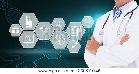 Happy doctor smiling at camera against digital background with dna helix