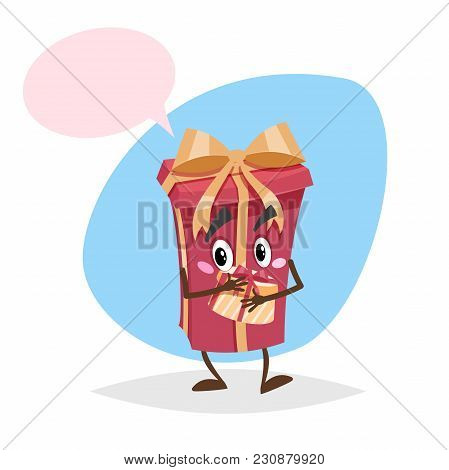 Cartoon Red Gift Box Character With Goldish Ribbon And Bow. Taking In Hands Another Gift Box. Humani