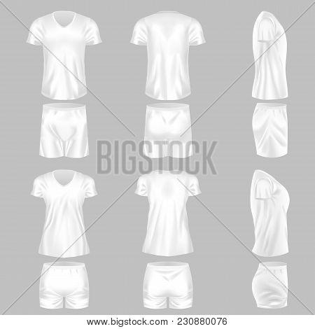 Set Of Realistic Mockup, Men And Women T-shirt And Fashion Shorts. Sports Short Shorts, Sleeve Short