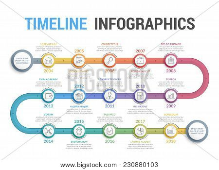 Colorful Timeline Infographics Template With 15 Steps, Workflow, Process, History Diagram, Vector Ep