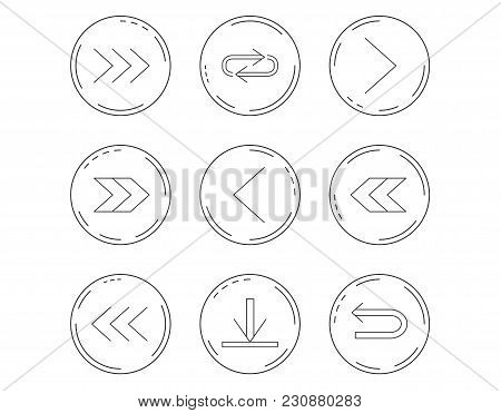 Arrows Icons. Download, Repeat Linear Signs. Next, Back Arrows Flat Line Icons. Linear Circles Web B