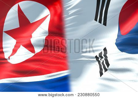 Half North Korea Flag And Half South Korea Flag, Crisis State Diplomacy And North Korea For Nuclear