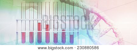 Digital image of DNA helix against test tube with chemical solution