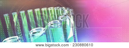 Digital image of DNA helix with numbers against test tube with chemical solution