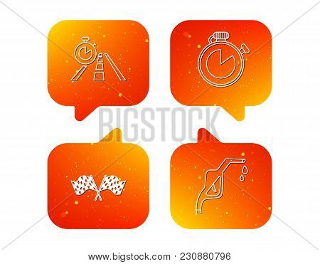 Race Flags, Travel Timer And Petrol Station Icons. Timer Linear Sign. Orange Speech Bubbles With Ico