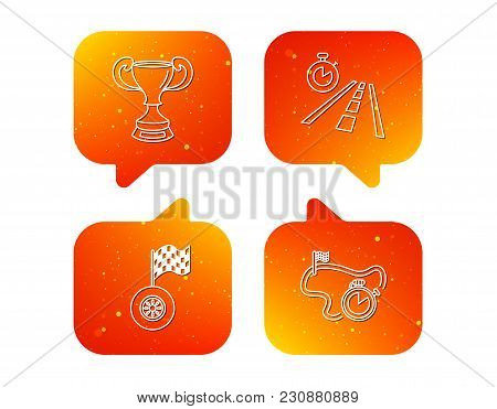 Winner Cup, Race Timer And Flag Icons. Travel Time Linear Sign. Orange Speech Bubbles With Icons Set