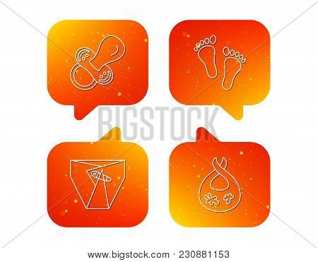 Pacifier, Diapers And Footprint Icons. Dirty Bib Linear Sign. Orange Speech Bubbles With Icons Set.