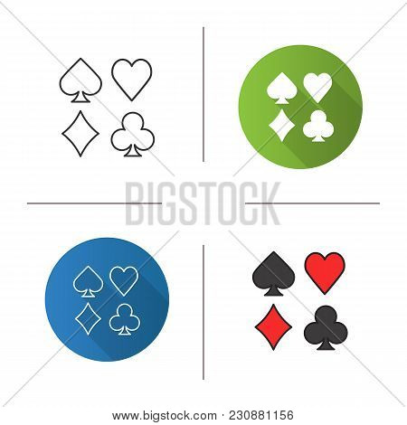 Suits Of Playing Cards Icon. Flat Design, Linear And Color Styles. Isolated Vector Illustrations