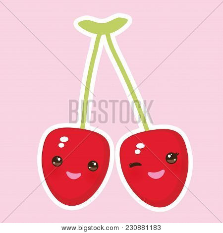 Kawaii Ripe Red Cherry With Pink Cheeks And Winking Eyes On Pink Background. Vector Illustration