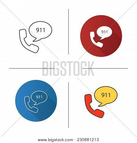 Emergency Calling Service Icon. Flat Design, Linear And Color Styles. Handset And Speech Bubble With