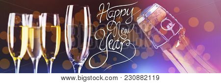 Happy New Year message against three full glasses of champagne and one empty
