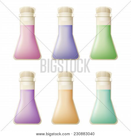 Icons Set Of Chemical Flasks. Pharmaceutical Tableware. Liquid Of Different Colors. Vector Illustrat