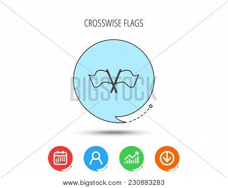 Crosswise Waving Flag Icon. Location Pointer Sign. Calendar, User And Business Chart, Download Arrow