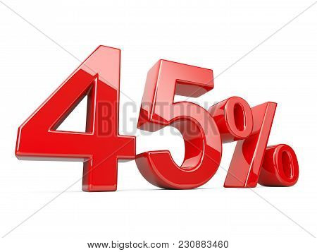 Forty Five Red Percent Symbol. 45% Percentage Rate. Special Offer Discount. 3d Illustration Isolated