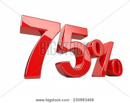Seventy Five Red Percent Symbol. 75% Percentage Rate. Special Offer Discount. 3d Illustration Isolat