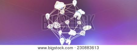 Lines connecting various networking icons against pink and purple colors background