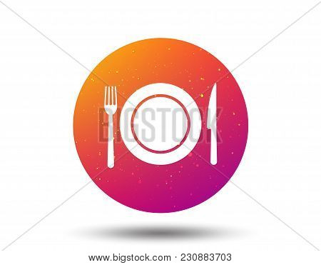 Dish, Fork And Knife Icons. Cutlery Symbol. Circle Button With Soft Color Gradient Background. Vecto