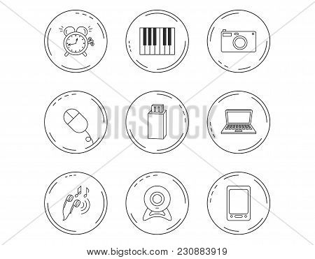 Photo Camera, Usb Flash And Notebook Laptop Icons. Pc Mouse, Alarm Clock And Web Camera Linear Signs