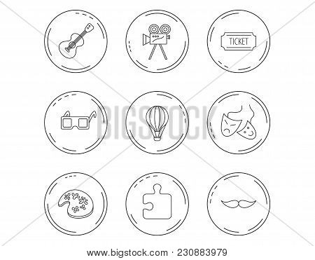 Puzzle, Guitar Music And Theater Masks Icons. Ticket, Video Camera And 3d Glasses Linear Signs. Ente
