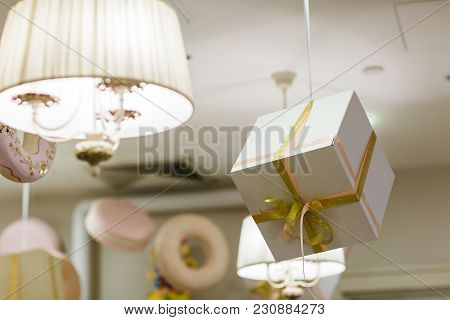 Image Of Room With Ceiling Decor, Gifts, Macaroni, Chandelier