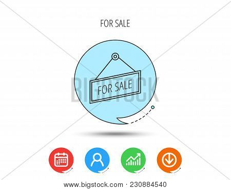 For Sale Icon. Advertising Banner Tag Sign. Calendar, User And Business Chart, Download Arrow Icons.