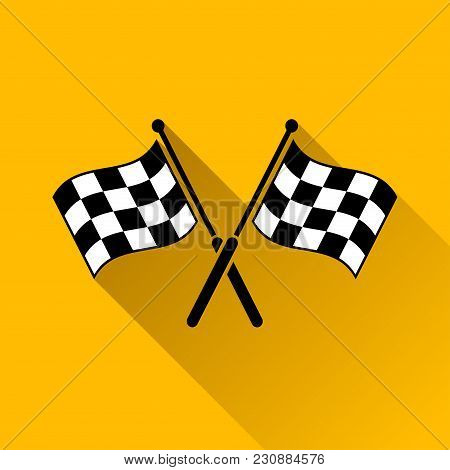 Illustration Of Checkered Flags With Long Shadow