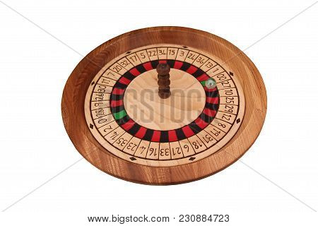 A Craft Made Wooden Roulette Wheel With Marble Ball.