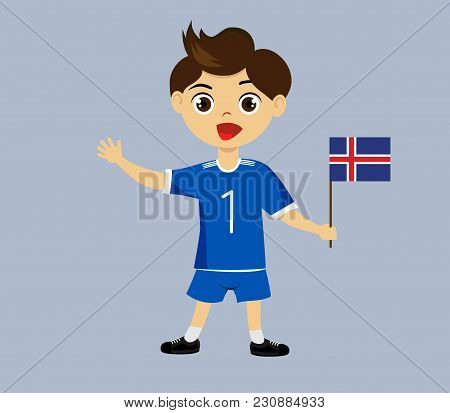 Fan Of Iceland National Football, Hockey, Basketball Team, Sports. Boy With Iceland Flag In The Colo