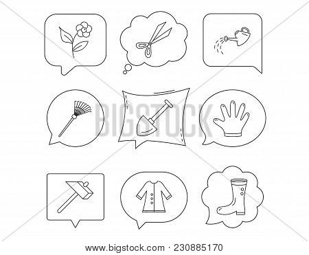 Scissors, Hammer And Gloves Icons. Shovel, Watering Can And Rake Linear Signs. Cloak, Boots And Flow