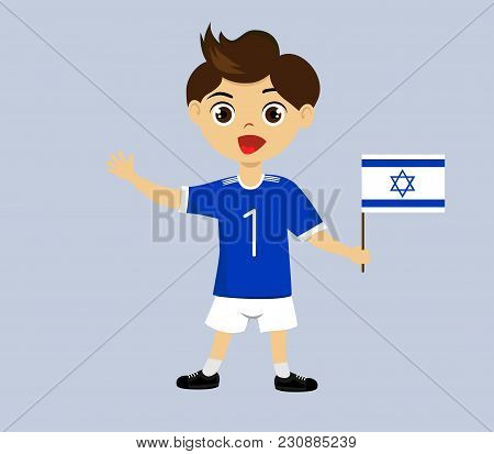 Fan Of Israel National Football, Hockey, Basketball Team, Sports. Boy With Israel Flag In The Colors