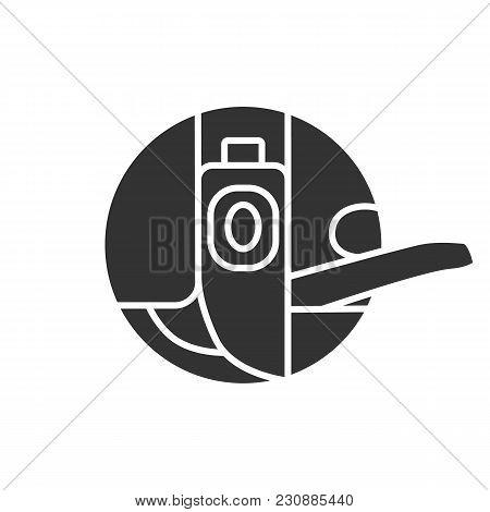 Bobbin Case Glyph Icon. Sewing Machine Part. Silhouette Symbol. Negative Space. Vector Isolated Illu