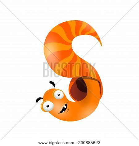 Vector One Letter S Of Sea Cartoon Alphabet Isolated On White Background.
