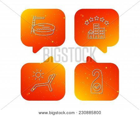 Hotel, Swimming Pool And Beach Deck Chair Icons. Clean Room Linear Sign. Orange Speech Bubbles With