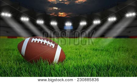 American Football Arena With Ball On Green Grass Illumination At Night, 3d Rendering