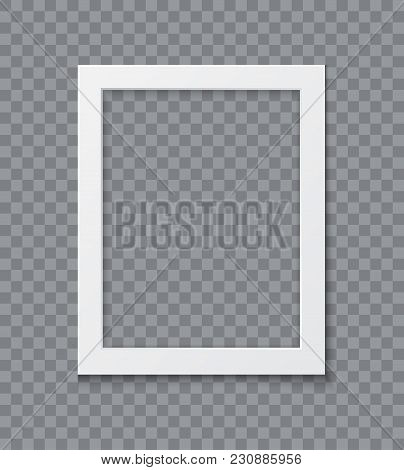 Paper Photo Frame With Shadow Isolate On Transparent Background, Realistic Vector Mock Up