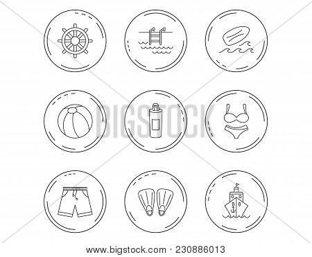 Surfboard, Swimming Pool And Trunks Icons. Beach Ball, Lingerie And Shorts Linear Signs. Flippers, C