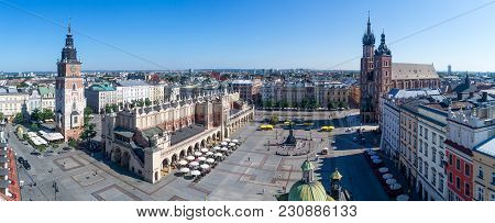 Wide Panorama Of Krakow Old City In Poland With Main Market Square (rynek), Old Cloth Hall (sukienni