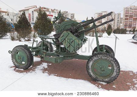 Evpatoria, Crimea, Russia - February 28, 2018: Anti-aircraft Machine-gun Installation Zpu-4 In The O