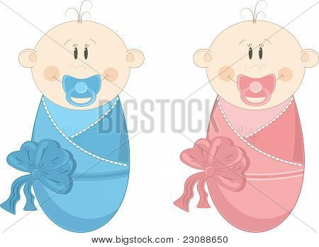 Two baby in diapers with pacifiers, vector illustration