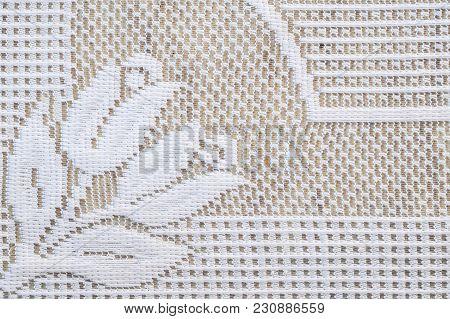 Closeup White Mat Fabric Pattern Texture Background