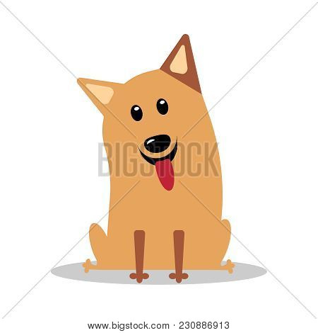 Happy Cartoon Puppy Sitting, Portrait Of Cute Little Dog Wearing. Dog Friend. Vector Illustration. I