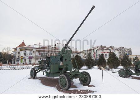Evpatoria, Crimea, Russia - February 28, 2018: Anti-aircraft Automatic Gun Azp-57 In The Open-air Mu